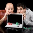 Online poker addicts — Stock Photo