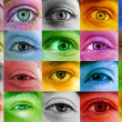 Multi color human eyes - Stock Photo