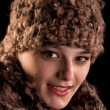 Happy faceand winter hat - Stock Photo