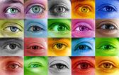 Multi color human eyes — Stock Photo