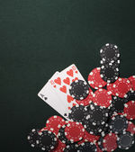 Poker cards and Casino chips — Stock Photo