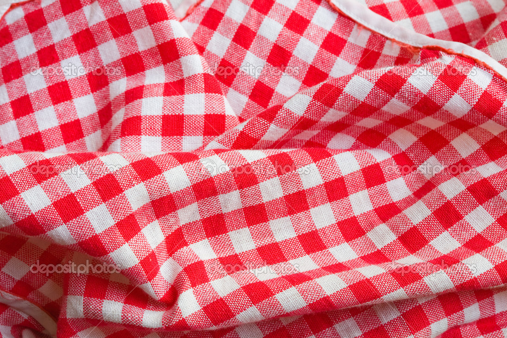 Red picnic cloth background. Texture detail closeup   Stock Photo #1685138