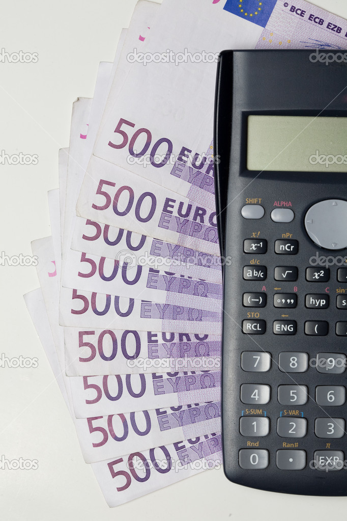 Nine bank notesof five hundred euros and calculator — Stock Photo #1687014