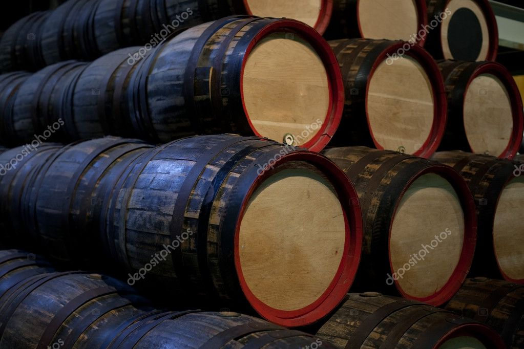 Brewery storage room with old wooden barrels with beer  Stock Photo #1688469