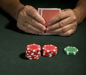 Casino poker player in vegas — Stock Photo