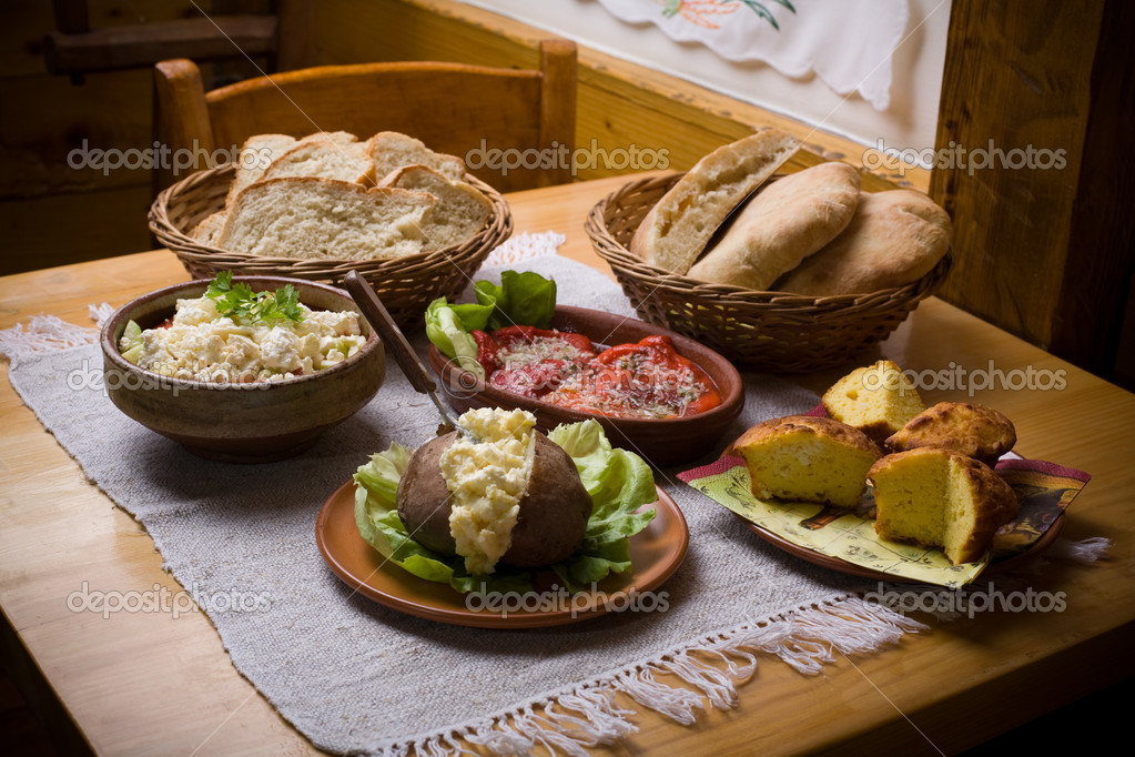Traditional balkan food on table. Healthy eating concept — Stock Photo #1692980