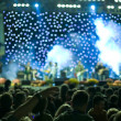 Concert stage lights and crowd — Stock Photo