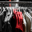 Fashion red T-shirts in colors - Stock Photo
