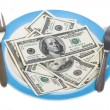 Few hundred dollars on plate — Stock Photo