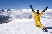 Skier on top of the mountain — Stock Photo