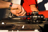DJ - music turntable — Stock Photo