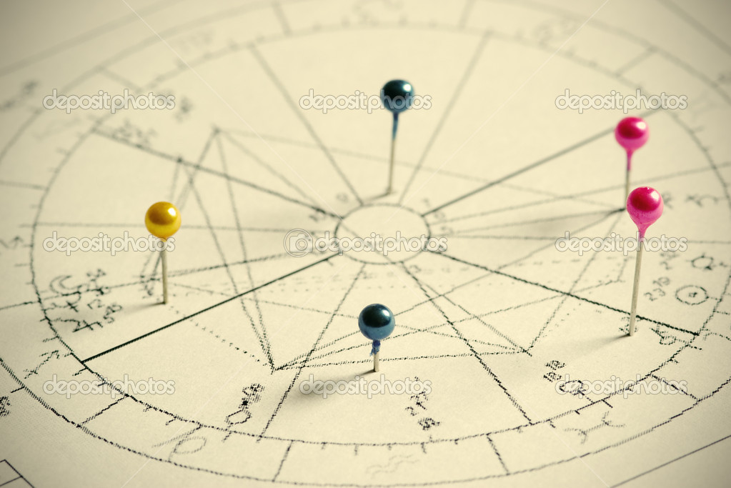 Close up of natal chart.  Foto de Stock   #1750450