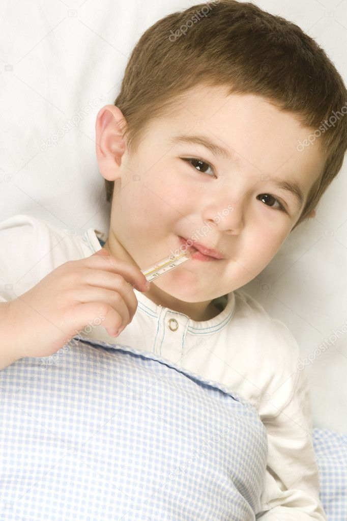 Child with flu and fever . — Stock Photo #1759813