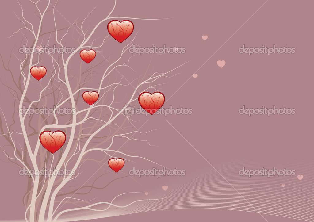 Red hearts on a tree on an abstract background — Stock Vector #2042138