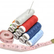 Lot's of thread spool and needle — Stock Photo
