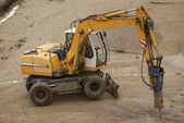 Bulldozer on contruction site — Stock Photo