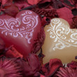 Two hearts candle — Stock Photo