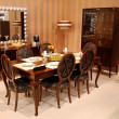 A beautiful dinning room with brown furn — Stock Photo