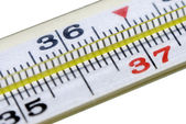 Thermometer on risk temperature closeup — Stock Photo