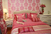 Pink woman interior bedroom — Stock Photo