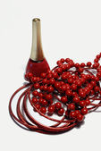 A set of red jewelry and nail polish — Stock Photo