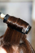 Long straight hair and hairbrush — Stok fotoğraf