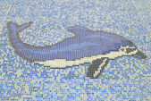 Swimming pool blue mosaic — Stock Photo