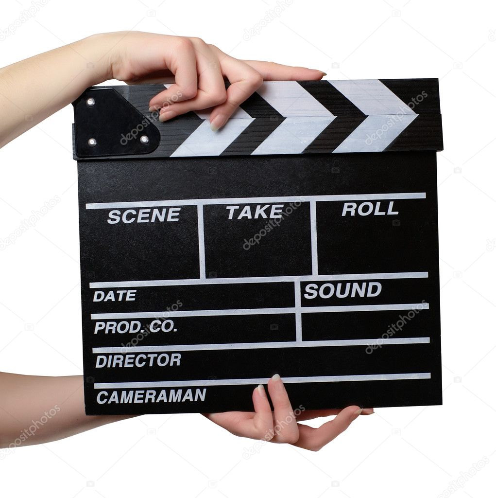 Hands with a movie clapper board close stock image
