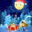 Christmas magic moon — Stock Vector