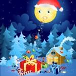Vánoční kouzelná měsíc — Stock vektor
