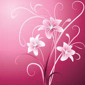 Lily on pink background — Stock Vector