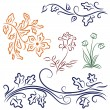 Collection of foliage and flowers - Stock Vector
