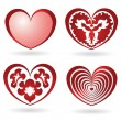 Collection of four red glossy hearts — Stock Vector #1808090