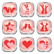 Collection of love button set — Imagens vectoriais em stock