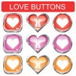 Stock Vector: Valentine button set