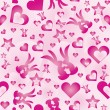 Valentine's wallpaper with hearts and rabbits on pink background — Stock Vector