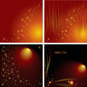 Collection of abstract backgrounds with lines, stars and balls — Stock Vector