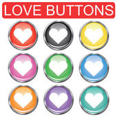 Collection of color love button set — Stock Vector