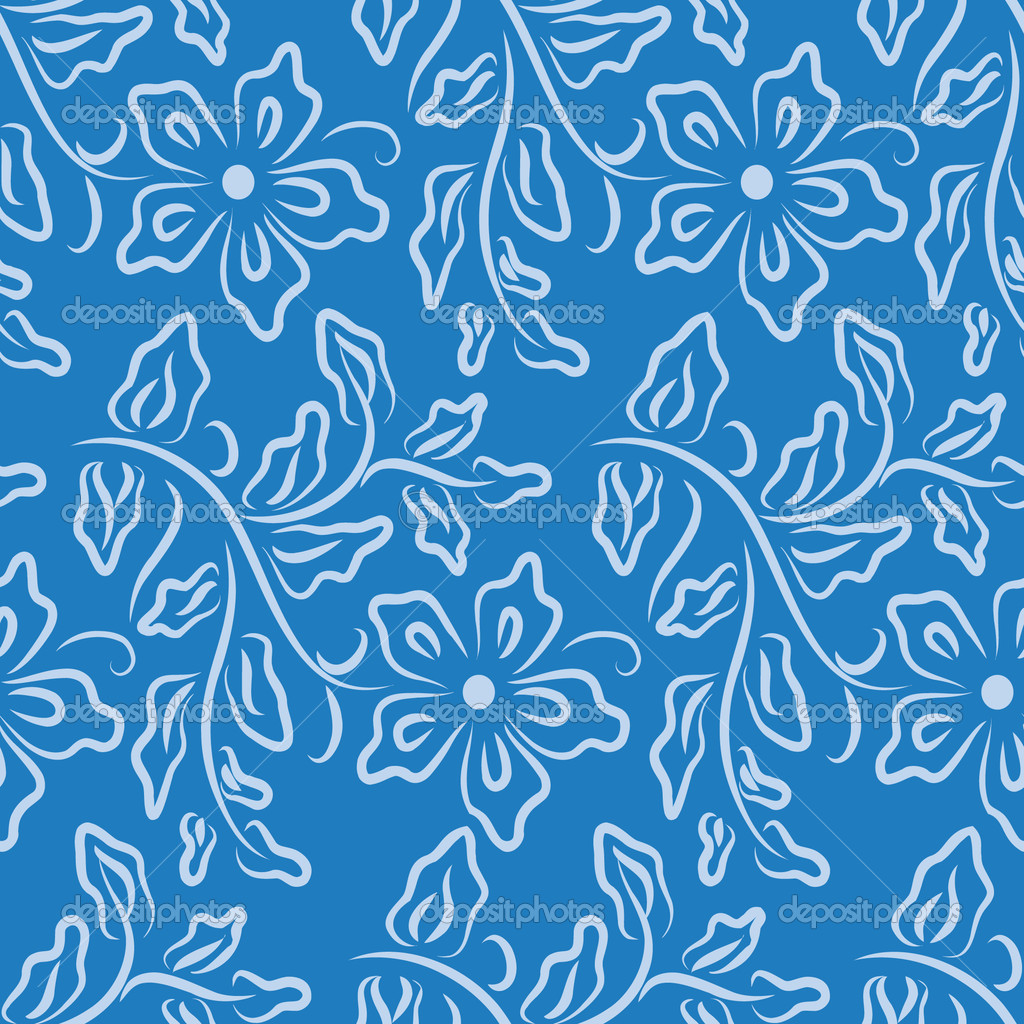 Blue wallpaper with floral pattern — Stock Vector #1806435
