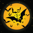 Halloween bat and moon - Stock Vector