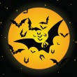 Stock Vector: Halloween bat and moon