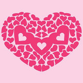 Big heart of many little pink hearts — Stock Vector