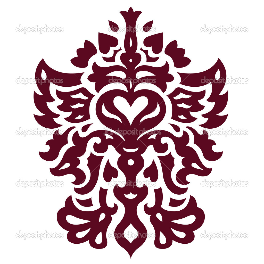Ornate with heart on white background  Stock Vector #1848813