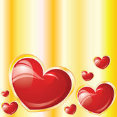 Valentine's glossy hearts on yellow background — ストックベクタ