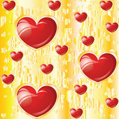 Valentine's glossy hearts on yellow background — Wektor stockowy