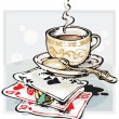 Cup of Coffee and Playing Cards - Stock Vector