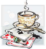 Cup of Coffee and Playing Cards — Stock Vector