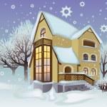 House is in the winter garden — Stock Vector