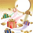Royalty-Free Stock Vector Image: Many gift boxes fly on a holiday