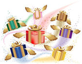 Many gift boxes fly on a holiday — Stock Vector